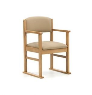 Durley Dining Chair, Arms & Skis, Cream Vinyl