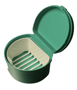 Denture Cup With Hinged Lid   Strainer