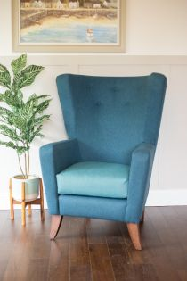 Artbourne Ocean Blue High Back Chair