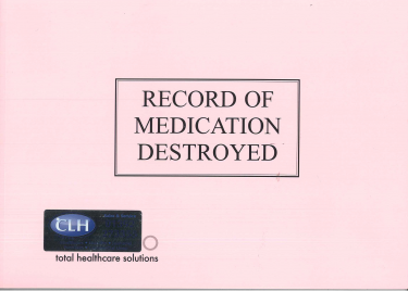 Record Of Medication Destroyed Book