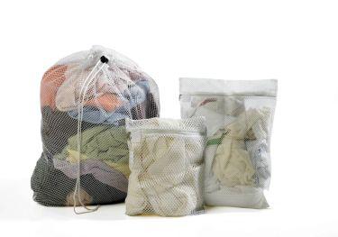 Zipped Mesh Bag With Tag 30 X 40 Cm White