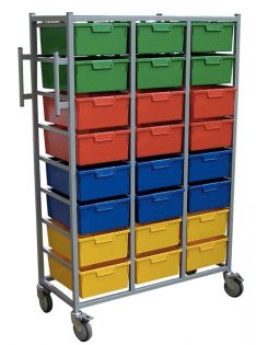 3 Tier, 24 Trays Slide Out Rail Karri-Cart
