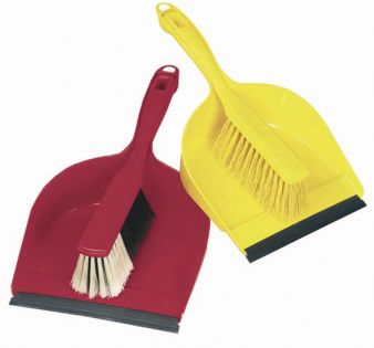 Janitorial Dust Pan And Brush Red