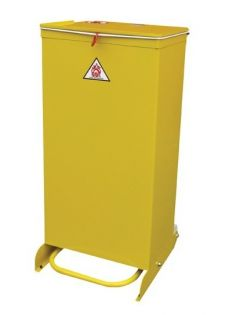 Metal Pedal Operated Bin 70L: Yellow