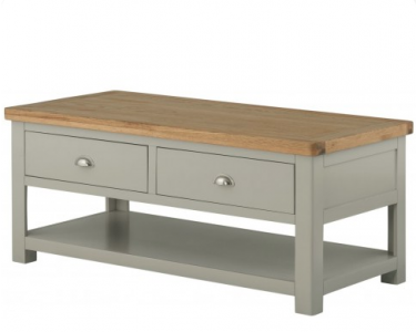 Portland Grand Coffee Table with 2 Drawers - Stone