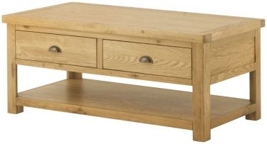 Portland Grand Coffee Table with 2 Drawers - Oak