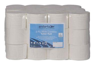 Toilet Tissue 2Ply White Coreless 100M